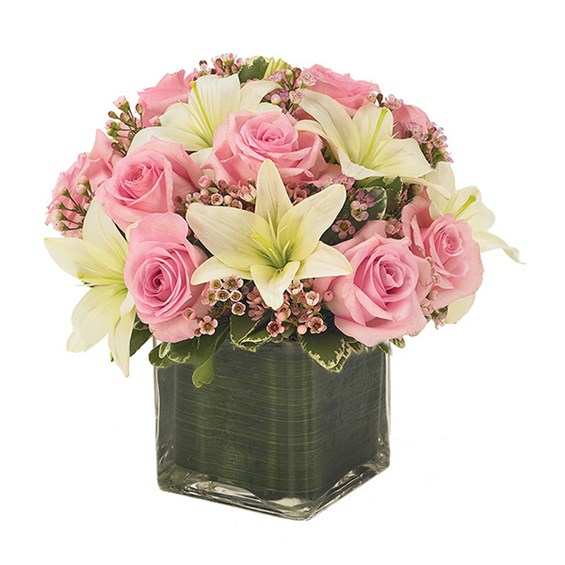 Pink Rose & Lily Cube Flower Bouquet (BF130-11)